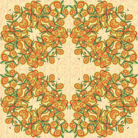 Peach and Green Leaves and Fruit Wreath fabric by eclectic_house on Spoonflower - custom fabric
