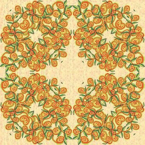 Peach and Green Leaves and Fruit Wreath
