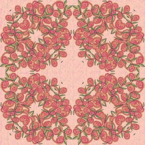 Rose Pink Leaves and Fruit Wreath