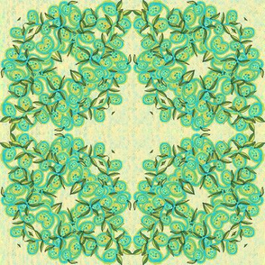 Lemon and Turquoise Leaves and Fruit Wreath