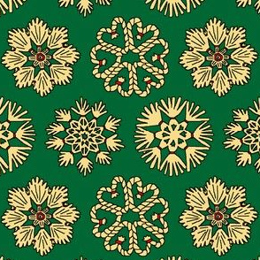 Straw Star Ornaments on Green