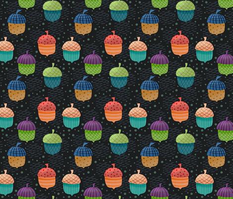 Funky Acorns on black fabric by jaymehennel on Spoonflower - custom fabric