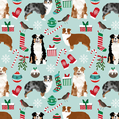 australian shepherd christmas fabric cute aussie dogs fabric best aussie dogs design fabric by petfriendly on Spoonflower - custom fabric