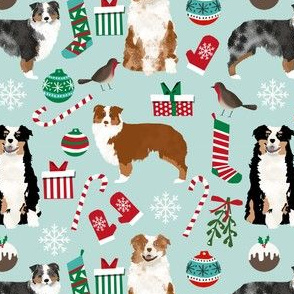 australian shepherd christmas fabric cute aussie dogs fabric best aussie dogs design