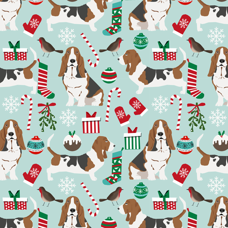 basset hound christmas fabric cute mint and blue christmas design best christmas fabrics for dog lovers fabric by petfriendly on Spoonflower - custom fabric