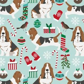 basset hound christmas fabric cute mint and blue christmas design best christmas fabrics for dog lovers