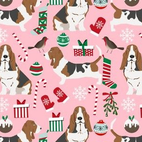 basset hound fabric christmas xmas holiday christmas fabrics cute bassett hounds fabric