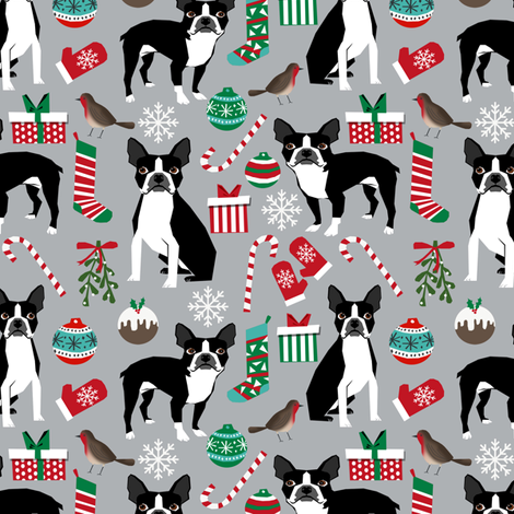 boston terrier christmas fabric cute xmas holiday dogs design cute christmas fabrics for dogs fabric by petfriendly on Spoonflower - custom fabric