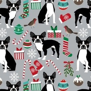 boston terrier christmas fabric cute xmas holiday dogs design cute christmas fabrics for dogs
