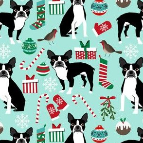 boston terriers christmas fabric cute xmas holiday dog design christmas fabrics boston terriers