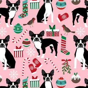 boston terriers dog fabric christmas xmas holiday cute dog design christmas fabrics boston terriers