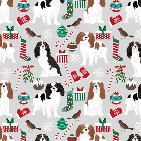 cavalier king charles spaniel dog christmas design cute xmas holiday dogs fabric cute dogs fabric fabric by petfriendly on Spoonflower - custom fabric