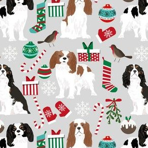 cavalier king charles spaniel dog christmas design cute xmas holiday dogs fabric cute dogs fabric