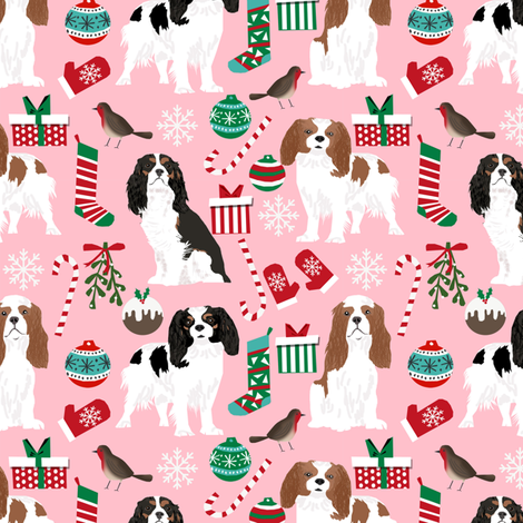 cavalier christmas fabric cavalier king christmas fabrics xmas dog dogs cute xmas fabrics fabric by petfriendly on Spoonflower - custom fabric