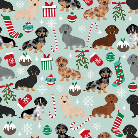 doxie christmas fabrics dachshunds dog fabric xmas holiday dog design fabric by petfriendly on Spoonflower - custom fabric