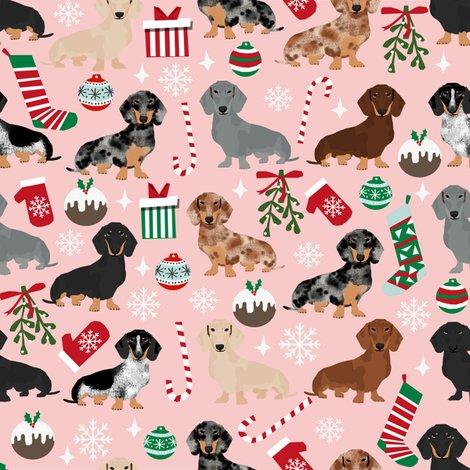 Dachshunds Christmas Fabric Cute Doxie Design Christmas