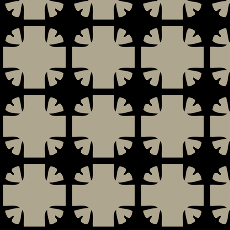 A bold flower -- in taupe on black fabric by bargello_stripes on Spoonflower - custom fabric