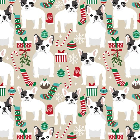 French Bulldogs Christmas Fabric Cute Frenchie Dog Dogs