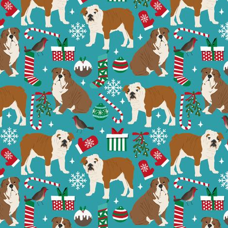 english bulldogs christmas fabric cute xmas design english bulldogs christmas fabrics cute dog fabric by petfriendly on Spoonflower - custom fabric