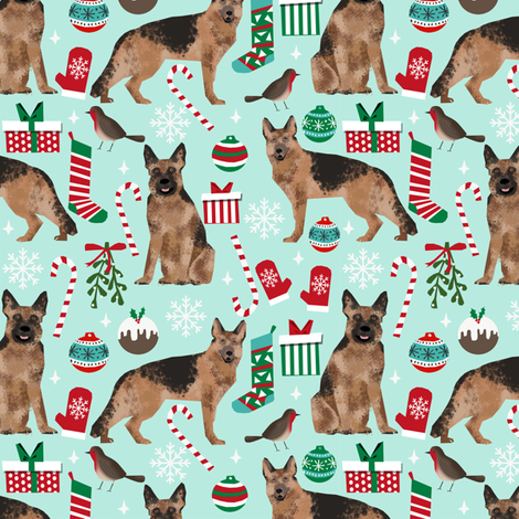 german shepherds christmas dog fabric dogs fabric cute xmas christmas fabrics dog fabric fabric by petfriendly on Spoonflower - custom fabric