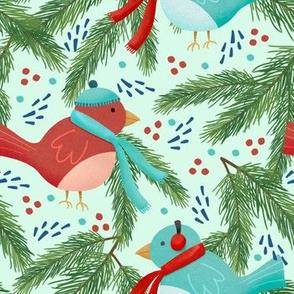 Winter Birds on light green