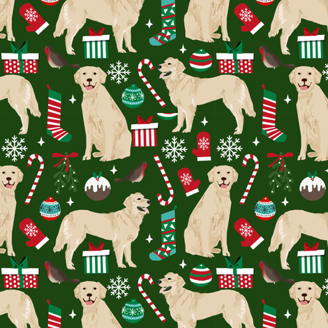 golden retriever dogs fabric cute xmas holiday dogs fabric dog christmas fabrics fabric by petfriendly on Spoonflower - custom fabric