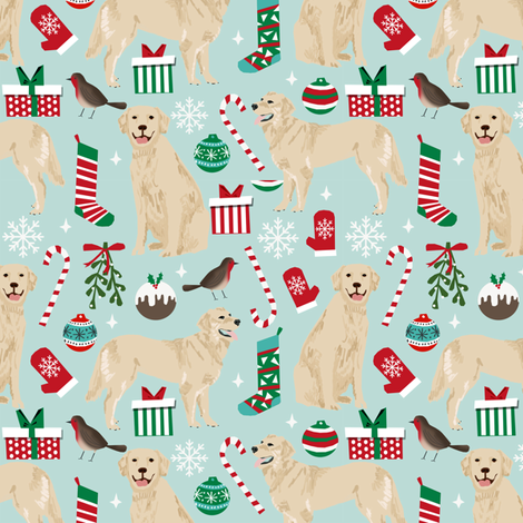 golden retrievers christmas fabrics xmas dog christmas fabrics dog fabric fabric by petfriendly on Spoonflower - custom fabric