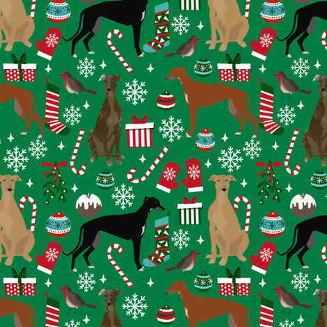greyhounds christmas fabric cute greyhound design greyhound christmas fabric