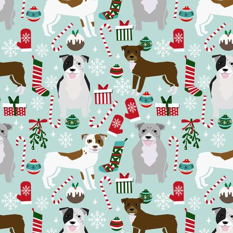 pitbulls christmas fabric cute dog christmas pitbull terrier fabric pitbull design christmas xmas dog fabric fabric by petfriendly on Spoonflower - custom fabric