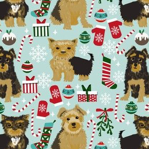 yorkie christmas fabric cute dog dogs fabric yorkshire terrier christmas fabrics