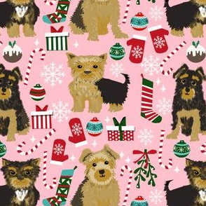 yorkie fabric cute christmas dog breeds fabric yorkie christmas fabric yorkshire terrier fabric