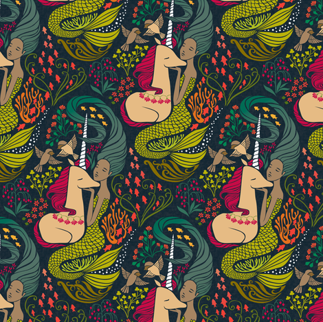 The Mermaid and the Unicorn - Mamara - medium scale fabric by ceciliamok on Spoonflower - custom fabric