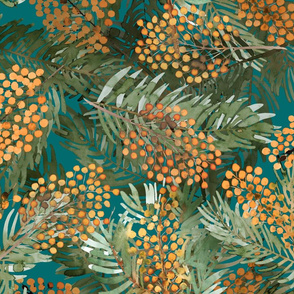 Sea buckthorn on blue