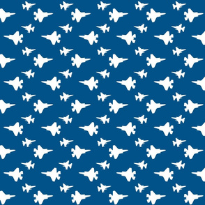 F35 Jet in a blue and white offset pattern