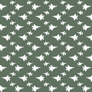 F35 Jet in a flight suit green and white offset pattern
