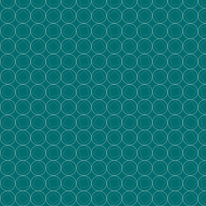 Squares in Circles on Teal