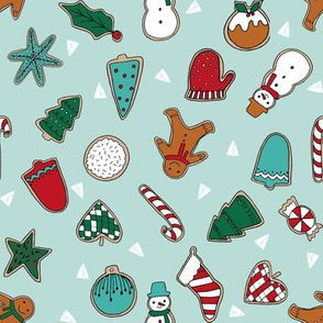 christmas cookies // mint christmas design christmas fabric christmas cookies fabric baking fabric cute christmas design