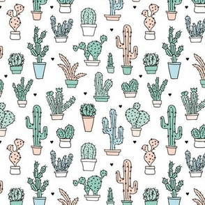 Soft pastel cactus garden illustration for boys and girls