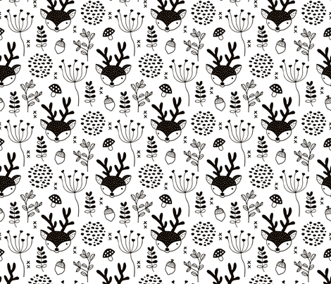 Winter woodland reindeer scandinavian forest cute deer christmas theme black and white fabric by littlesmilemakers on Spoonflower - custom fabric