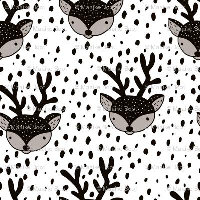Winter woodland reindeer snow wonderland cute deer christmas theme black and white