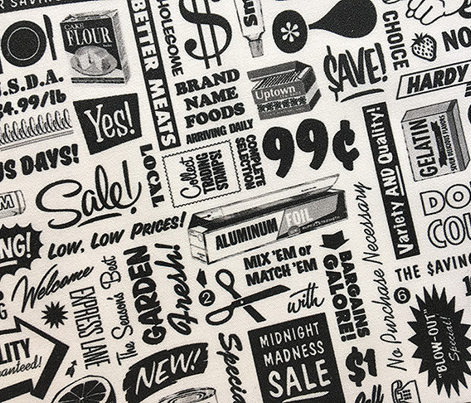 Stock Up! (Black & White) || text typography store market grocery supermarket sale food vintage retro low volume