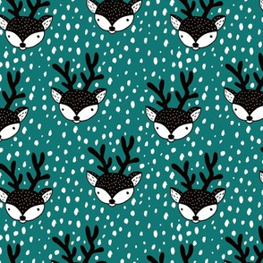 Winter woodland reindeer snow wonderland cute deer christmas theme teal