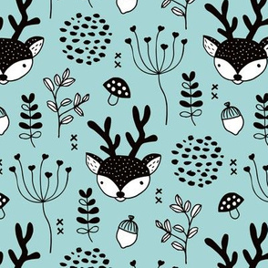 Winter woodland reindeer forest cute deer christmas theme blue