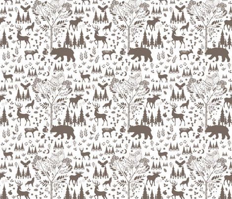 In the Woods - Brown fabric by shopcabin on Spoonflower - custom fabric