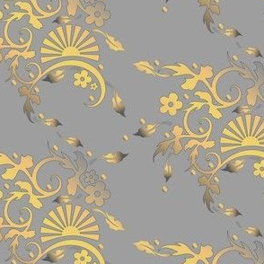Classic Golden Yellow Floral on Gray