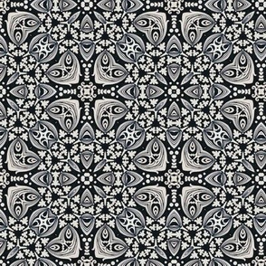 Victorian Black and White Intricate Floral