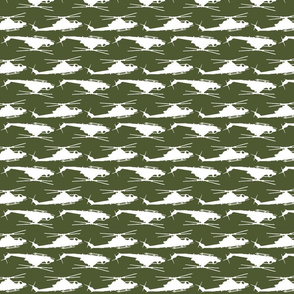Cobra Zulu Helicopter in a camo green and white offset pattern