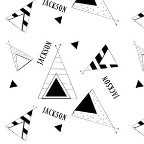 Tee Pee Nation - LARGE 7 - black and white Personalized Jackson