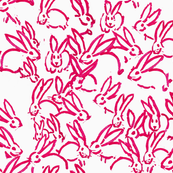 Pink bunnies painted pink rabbits nursery curtains