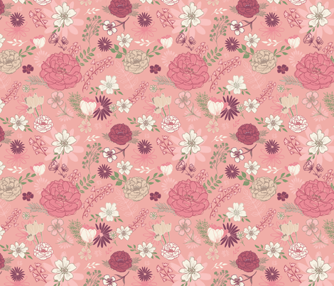 Pink Floral fabric by katievaz on Spoonflower - custom fabric